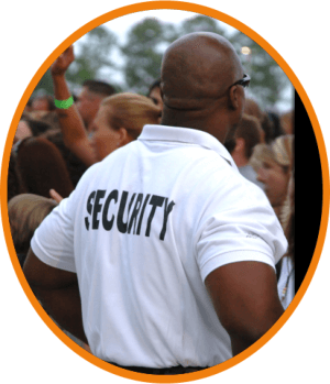 security guard looking out over a crowd